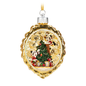 Disney Parks Turn the Century Holiday Mickey Minnie Santa Light-Up Ornament New
