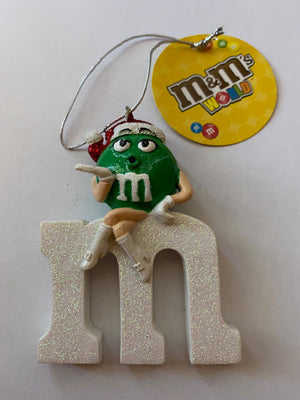 M&M's World M with Green Character Resin Christmas Ornament New with Tag