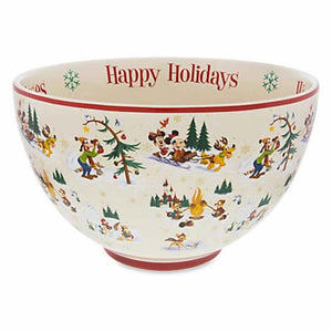 Disney Parks Holiday Storybook Mickey & Friends Serving Bowl Ceramic New