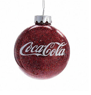 Authentic Coca Cola Coke Glitter Ball Christmas Ornament New with Box
