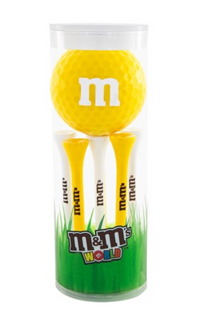 M&M's World Yellow Character 1 Playable Golf Ball & 6 Tees New with Box Sealed