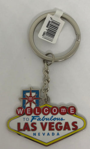 M&M's World Welcome to Fabulous Las Vegas Sign Metal Lentil Keychain New