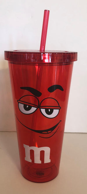 M&M's World Red Character Big Face Tumbler with Straw New