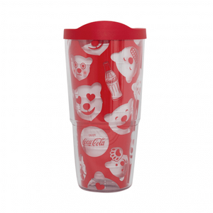 Authentic Coca Cola Coke Polar Bear Emoji Tervis Tumbler 24oz New