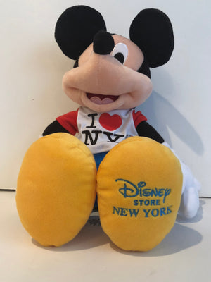 "Disney Store Authentic 18"" Mickey Mouse I Love New York Plush New With Tags"