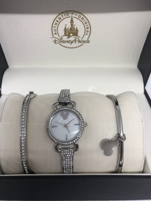 Disney Parks Silver Finish Mickey Icon Watch Set with Bracelet New with Case