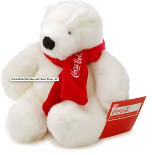 Authentic Coca-Cola Coke Polar Bear with Scarf Plush 6 inc New with Tag