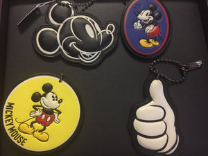 Disney X Coach Mickey Set of 4 Leather Hangtag Charm New with Box