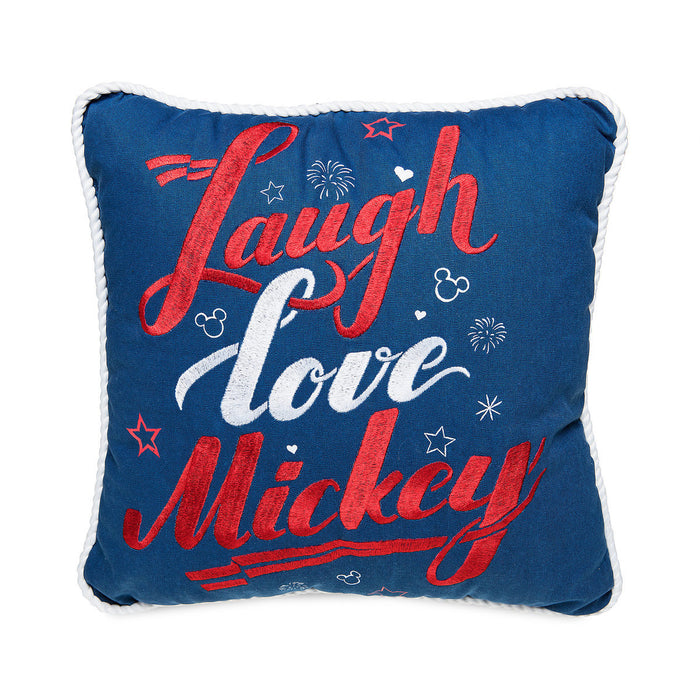 Disney Parks Laugh Love Mickey Americana Throw Pillow New with Tags