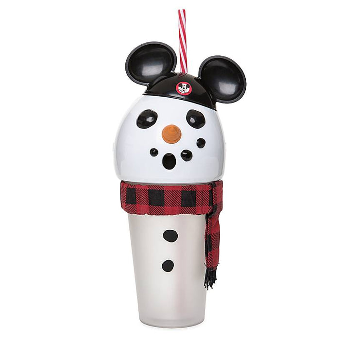 Disney Parks Holiday Snowman with Mickey Ear Hat Light Up Tumbler with Straw New