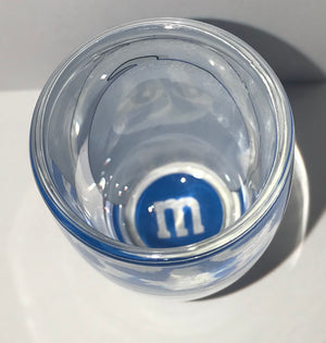 M&M's World Blue Big Face Clear Shot Glass New