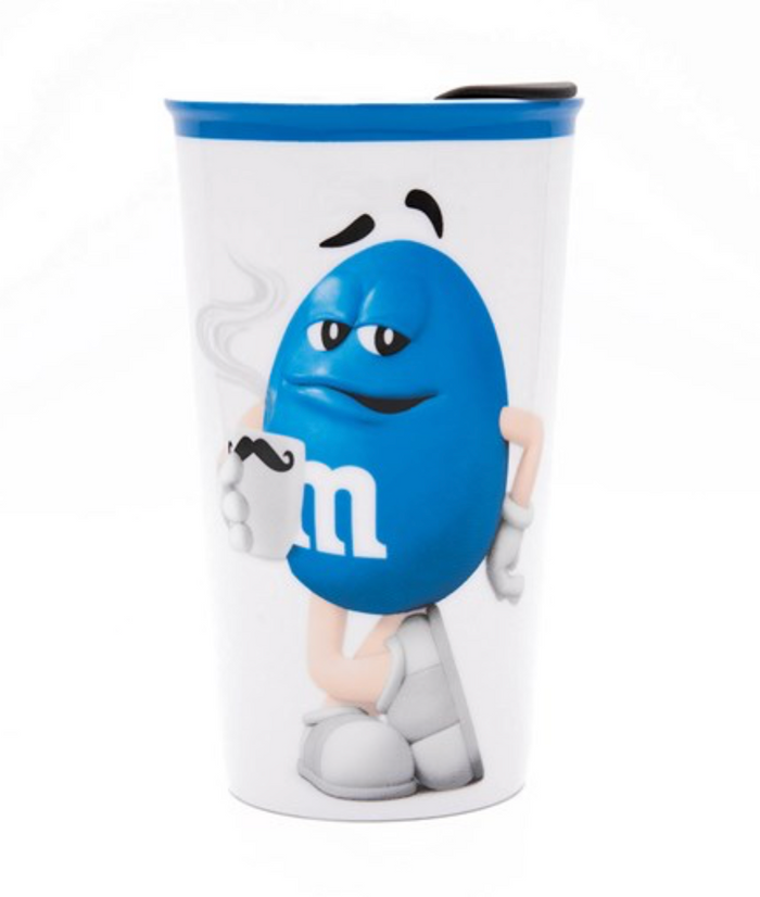 M&M's World Blue Character Ceramic Tumbler New