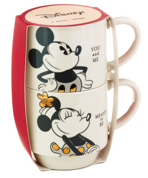 Hallmark Valentine Disney Mickey Minnie You and Me Stacking Mugs Set of 2 New