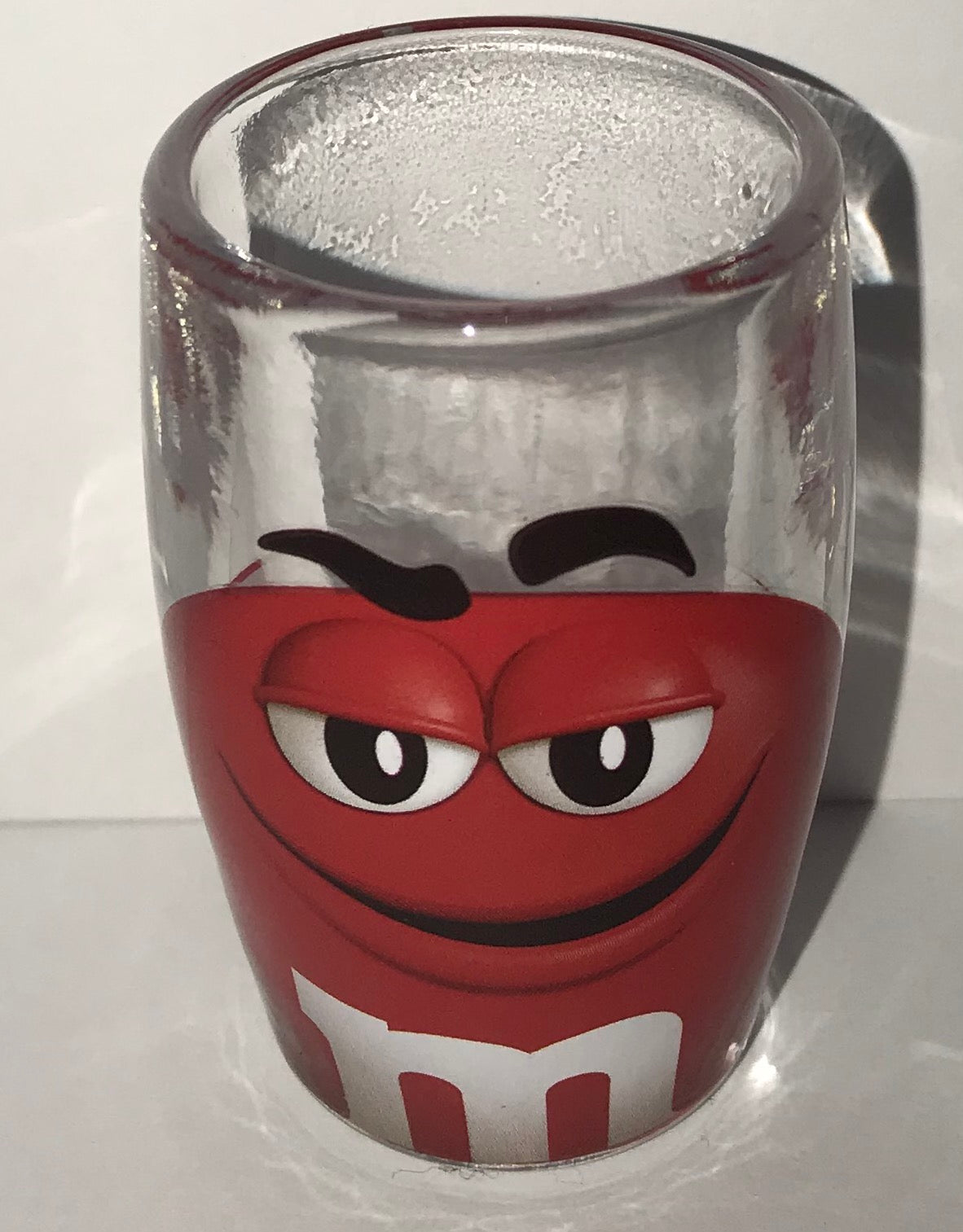 M/&M/'s World Green Big Face Clear Shot Glass New
