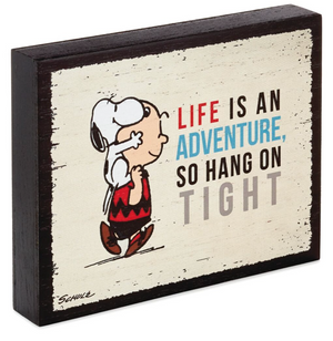 Hallmark Peanuts Charlie Brown and Snoopy Adventure Wood Quote Sign New