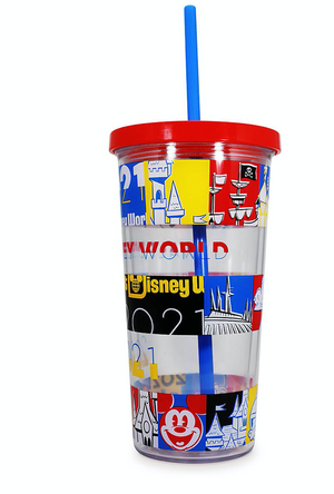 Disney Parks WDW 2021 Mickey and Friends Tumbler with Straw New