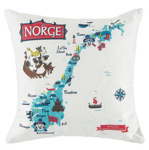 Disney Parks Epcot Mickey & Friends Norway Map Pillow New with Tags