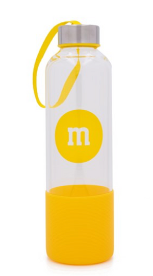 M&M's World Yellow Character Water Glass Bottle with Silicone Bottom New