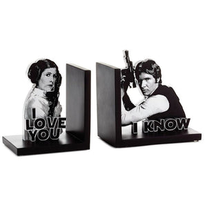 Hallmark Star Wars Han Solo and Princess Leia Bookends Set of 2 New