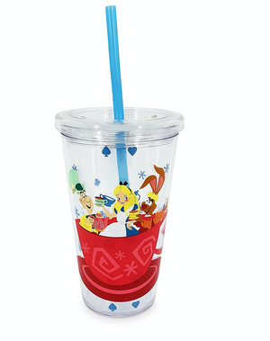 Disney Parks Alice in Wonderland Mad Tea Party Tumbler with Straw New