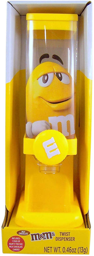 M&M's World Yellow Twist Candy Dispenser New with Box