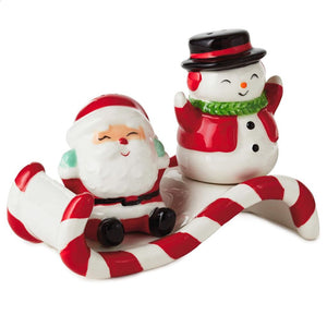Hallmark Nostalgic Santa Snowman Sledding Salt Pepper Shakers Set of 2 New