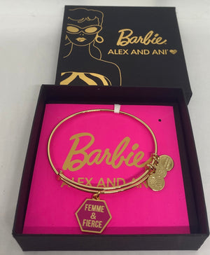Alex Ani Barbie Femme and Fierce Charm Bangle Shiny Gold Finish New with Box
