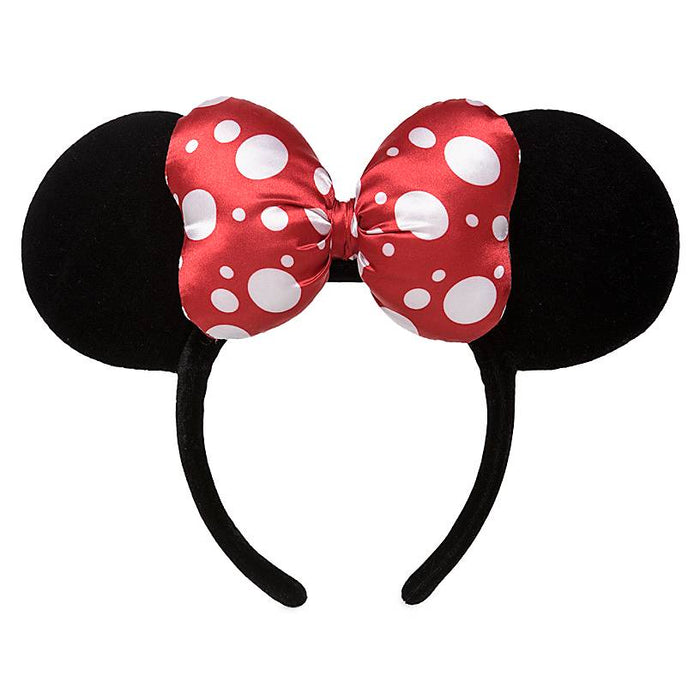 Disney Parks Minnie Mouse Satin Polka Dot Bow Ear Headband New with Tag