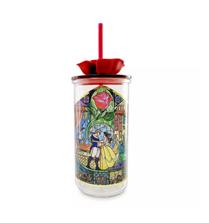 Disney Beauty and the Beast Rose Stained Glass Tumbler with Straw New