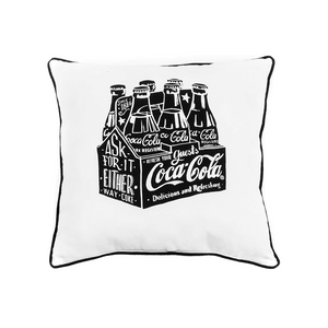 Authentic Coca-Cola Coke Chalk White Talk 6 Pack Pillow New with Tag