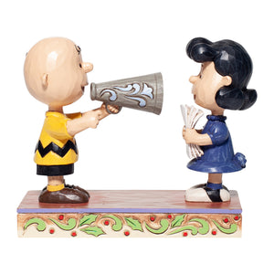 Jim Shore Peanuts Charlie Brown and Lucy Director Figurine New with Box