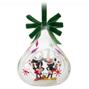 Disney Store Mickey Minnie Mouse Holiday Glass Drop Ornament 2018 Christmas New