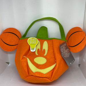 Disney Store Mickey Pumpkin Halloween Trick or Treat Bag Glow New with Tag