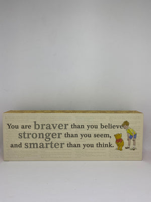 Hallmark Disney Winnie You are Braver Stronger and Smarter Wood Quote Sign New