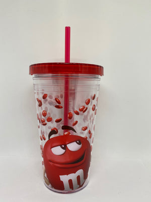 M&M's World Red Big Face Lentils Tumbler with Straw New
