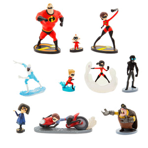 Disney Store Incredibles 2 Deluxe Figure Set 10 Play Set Playset Cake Topper New