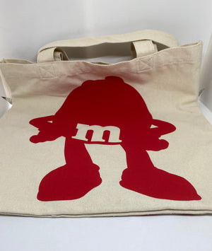 M&M's World Red Delicious Sarcastic Clever Character Canvas Tote New with Tag