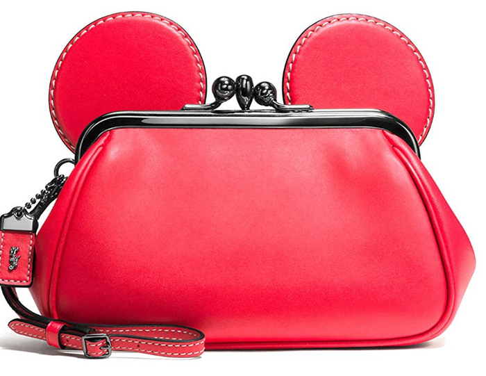 Disney X Coach Mickey Kiss Lock Leather Red Wristlet New with Tag