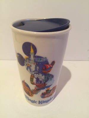 Disney Parks Starbucks Mickey Magic Kingdom Ceramic Coffee Tumbler Travel New