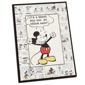 Hallmark Disney Mickey Mouse New Day Comic Strip Wood Quote Sign New