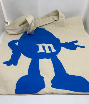 M&M's World Confident Chill Relaxed Blue Character Canvas Tote New with Tag