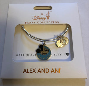 Disney Alex and Ani Parks Mickey Mouse Passholder Charm Silver Bracelet New
