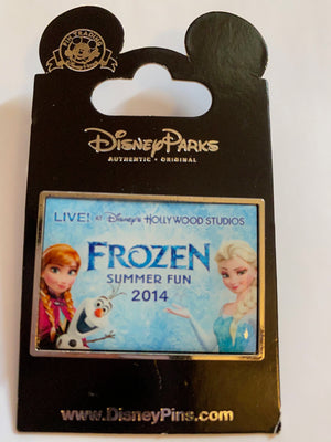 Disney Parks Frozen Anna Elsa Olaf Summer Fun 2014 Pin New with Card