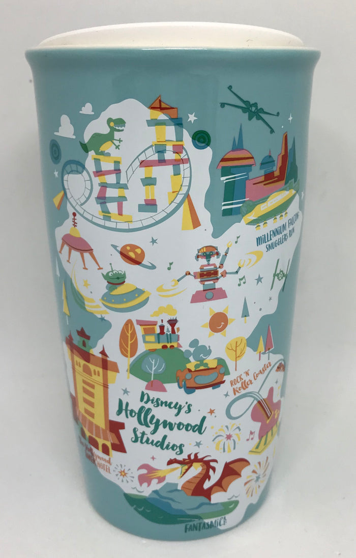 Disney Parks Starbucks Hollywood Studios Attractions Map Coffee Tumbler Mug New