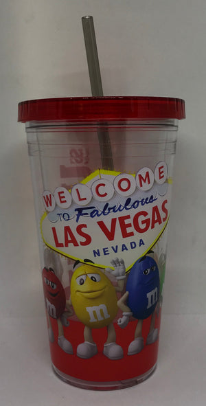 M&M's World Welcome to Fabulous Las Vegas Sign Characters Tumbler with Straw New