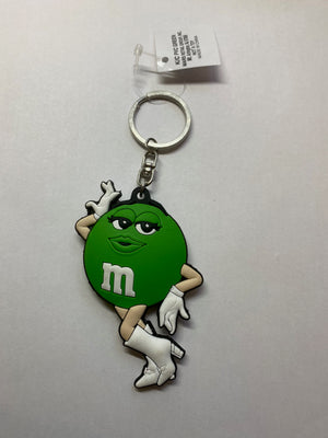 M&M's World Green Character Silhouette PVC Keychain New with Tag