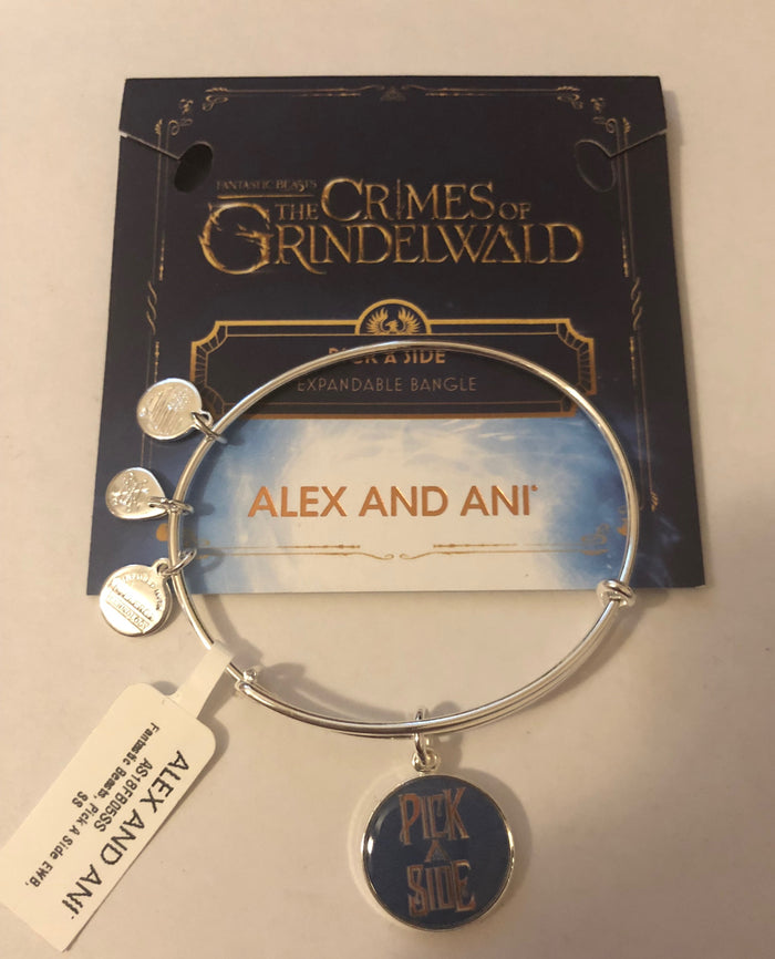 Alex Ani Fantastic Beasts Pick a Side Charm Bangle Silver Finish New with Tags