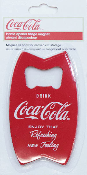 Authentic Coca Cola Coke Bottle Opener Fishtail Magnet New with Card