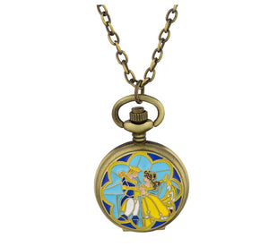 Disney Parks Beauty & the Beast Pocket Watch Necklace New with Tag