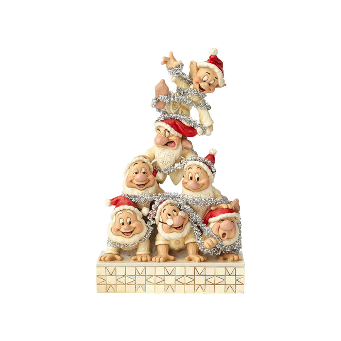 Disney Jim Shore Traditions Christmas White Woodland Seven Dwarfs New with Box